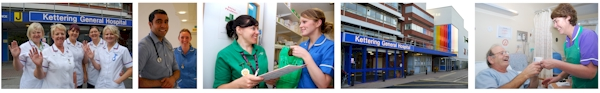 montage of five photos - 5 student nurses, doctor and a nurse smiling, nurse collecting drugs from a pharmacist, the front of the main hospital building and patient in bed receiving a cup of tea from a housekeeper
