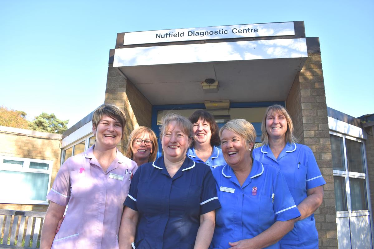Photo of staff team outside NUffield Diagnostic Centre , Corby