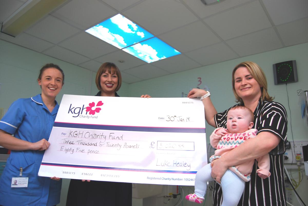 Image of Staff Nurse Tess Thompson, Sister Jane Lafferty, Holly Worland and Lyla (5 months) new skylights support babies in our SCBU