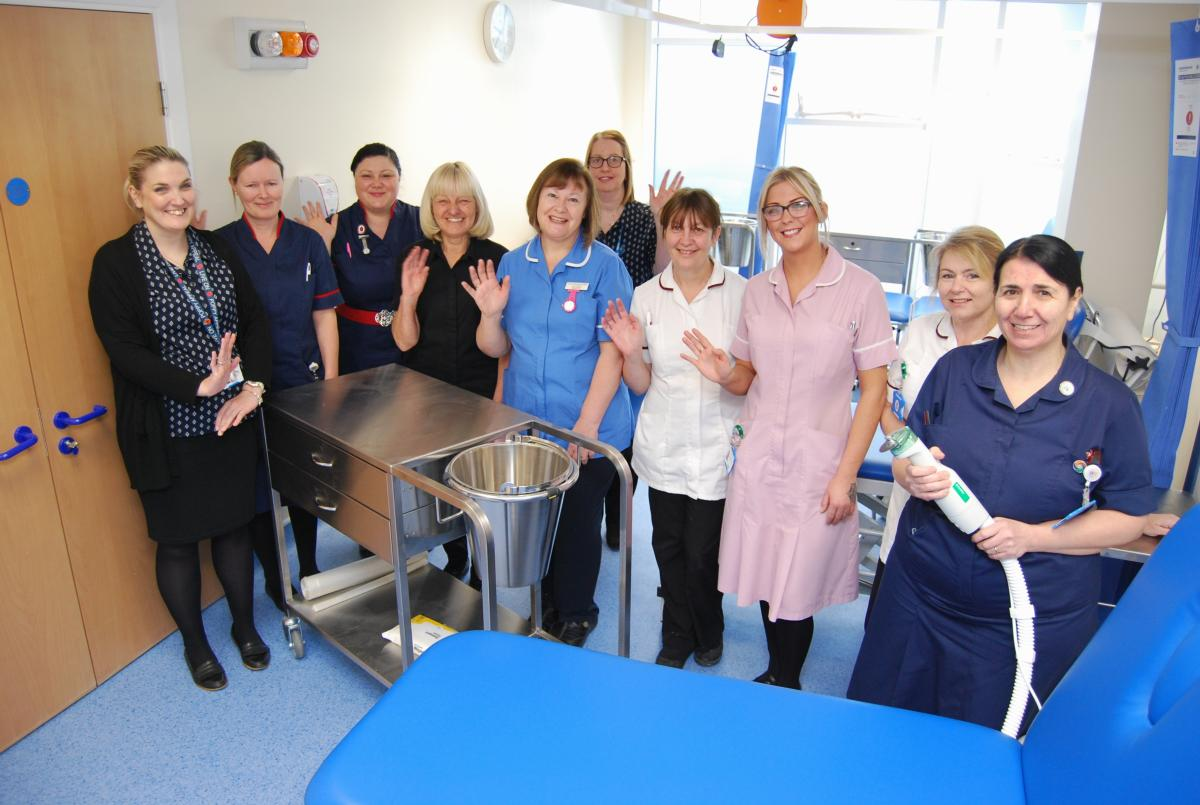 Photograph showing fracture clinic staff celebrating relocation into new premises