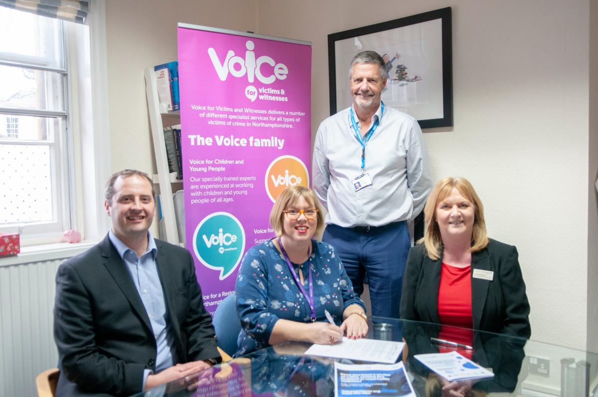 Our photograph shows the agreement being signed – Pictured L-R KGH Director of Human Resources and Organisational Development, Mark Smith, Chief Executive of Voice, Fiona Campbell, Chairman of NGH and KGH, Alan Burns, and Director of Workforce and Transformation at NGH, Janine Brennan.