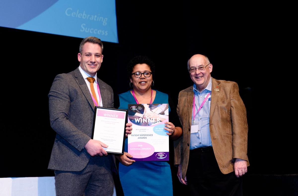 Photograph of James Allan, Head of Patient Experience at KGH, Esther Simpson, Young Healthwatch and John Dale, Chair of National NHS Complaints Managers Forum