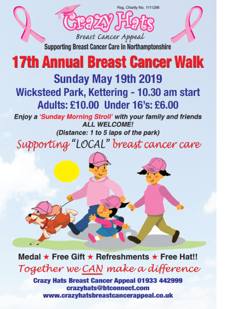 The poster gives details of the walk on 19 May 2019