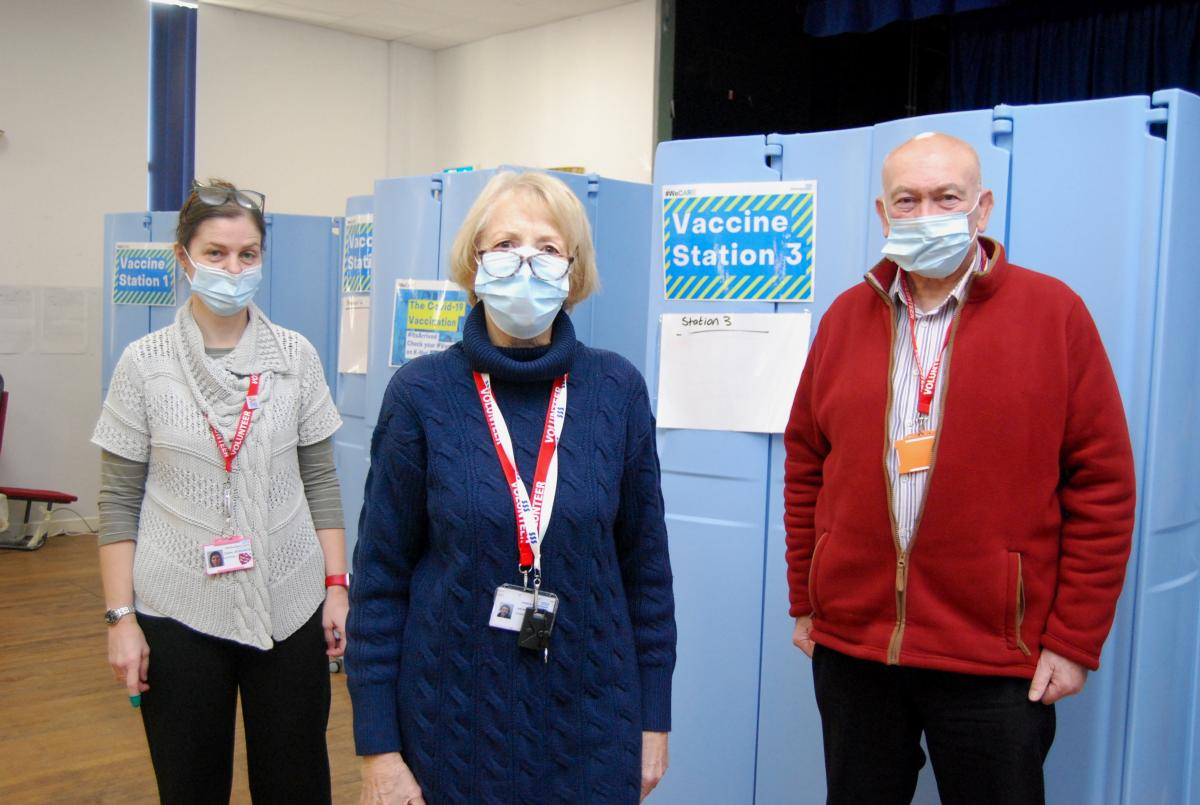 Volunteers working in KGH vaccination centre Claire Jennings, Judy Mitchell and John Wright.